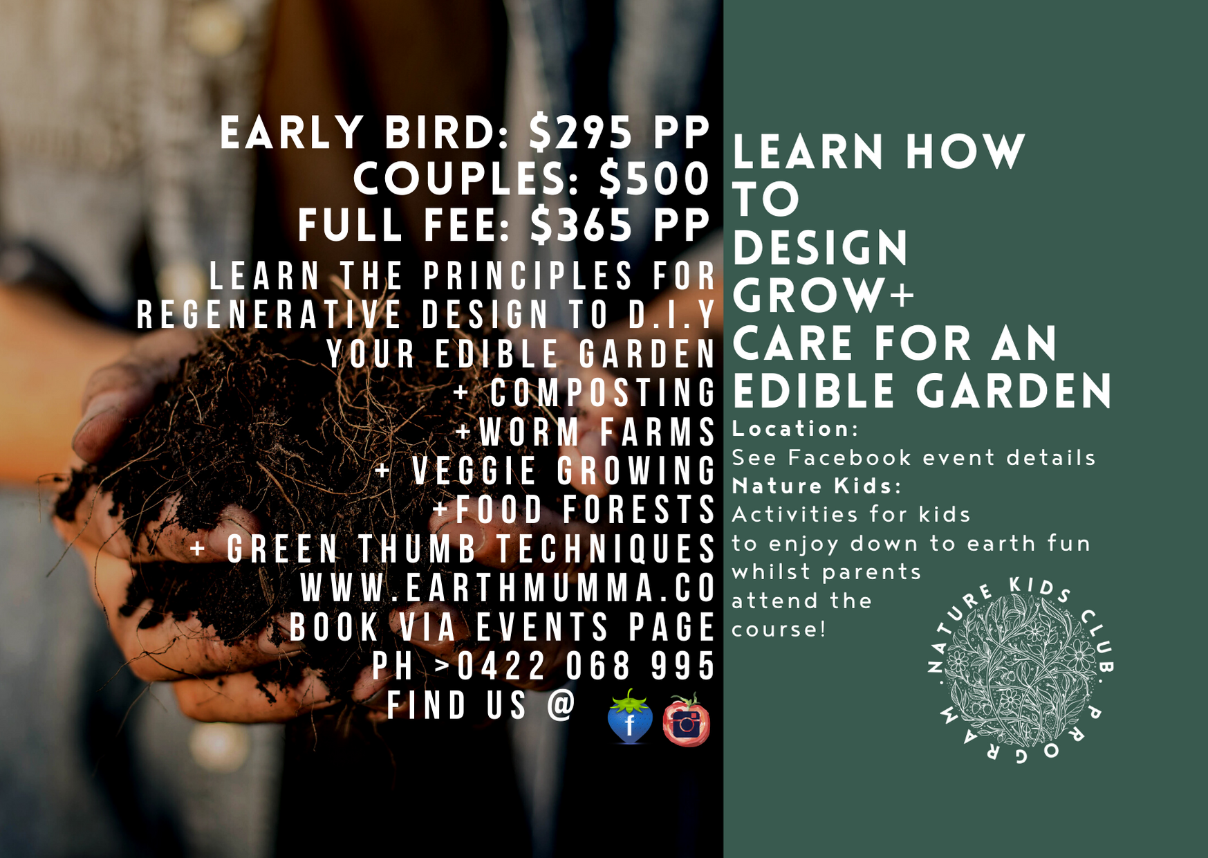 Early bird discounts. Intro to Permaculture.